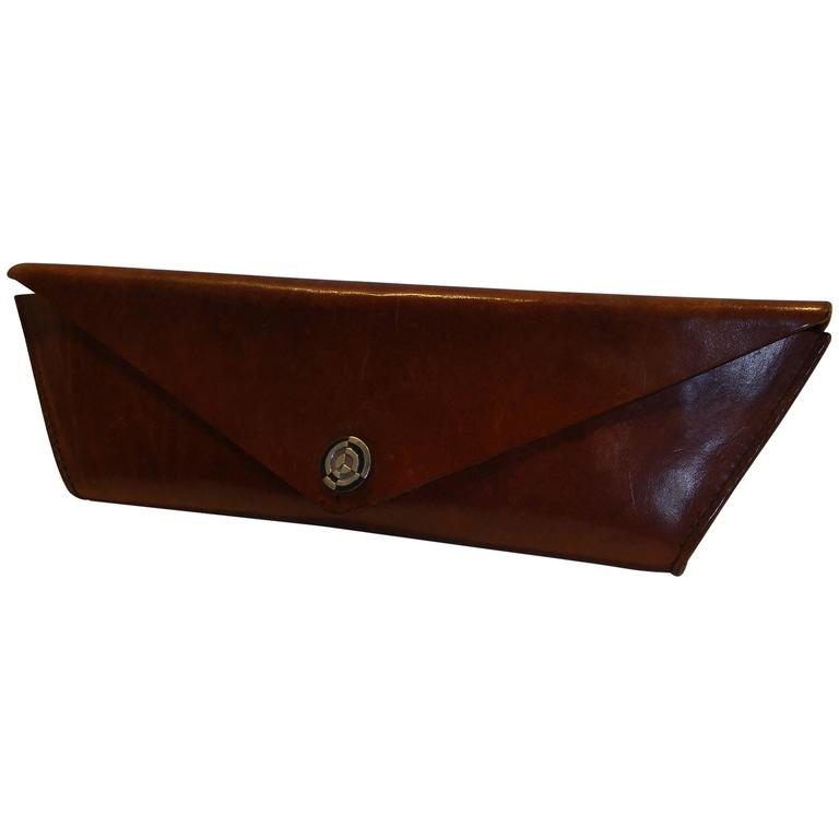 Extreme Trapezoid Clutch With Abstract Sterling Clasp in Hard shell Leather
