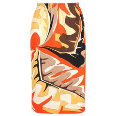EMILIO PUCCI c.1960's Orange Multicolor African Leaf Print Silk Jersey Skirt