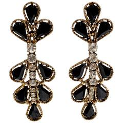 1980s Thelma Deutsch Tear Drop Chandelier Earrings