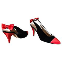 Vintage Escada Never Worn Red and Black Sz 9.5 Christmas Holiday Heels / Shoes