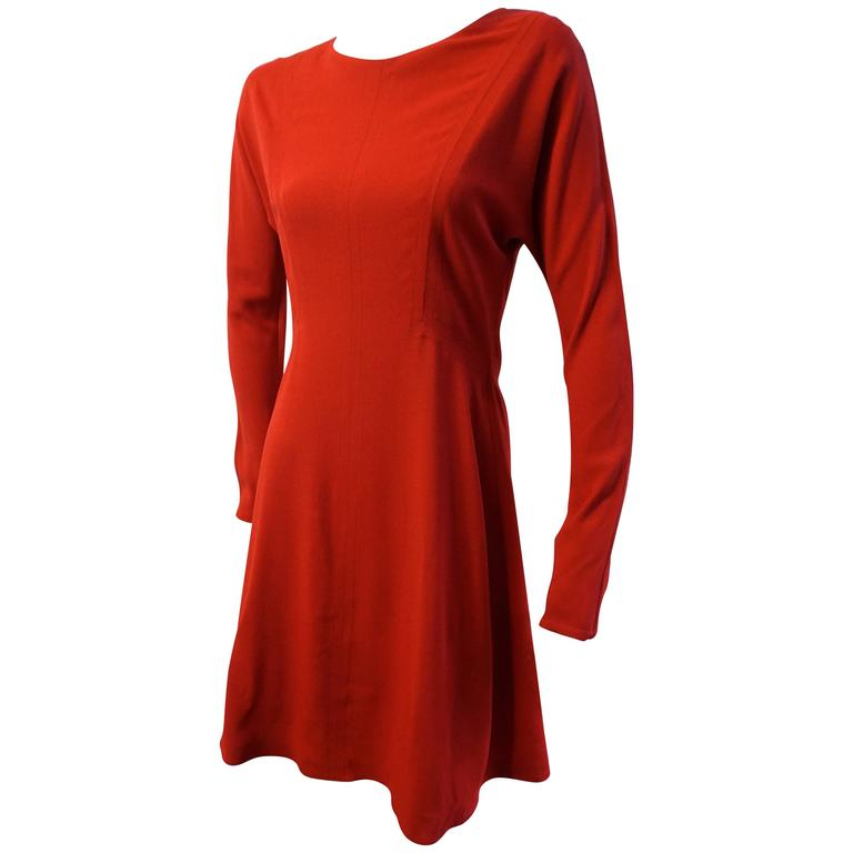 GUCCI Red Crepe Fitted Aline Dress