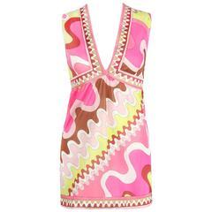 EMILIO PUCCI c.1960's Formfit Rogers Pink Multicolor Wave Print Top Camisole