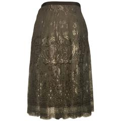 New Hermes 2006 Chocolate Brown Metallic Lace H Logo Skirt