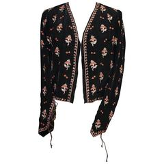 1920s Babani Black and Multicolored Embroideries Jacket
