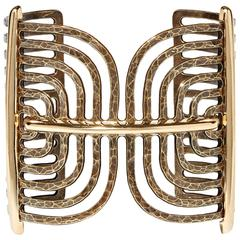 Lanvin NEW Gold Brass Pewter Cut Out Cage Wide Cuff Link Bracelet in Box