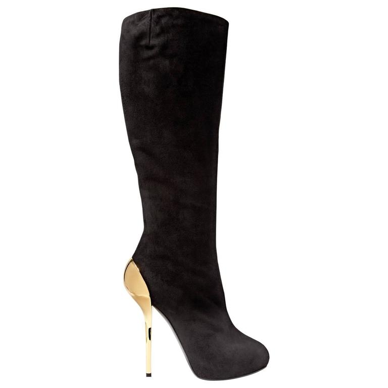 Giuseppe Zanotti NEW & SOLD OUT Black Suede Gold Metal Knee High Boots in Box 1