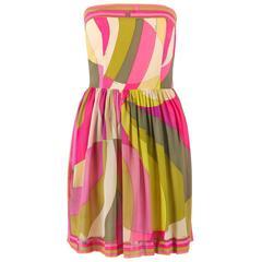 EMILIO PUCCI c.1960's Multicolor Print Boned Strapless Silk Mini Party Dress
