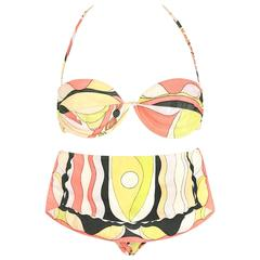 EMILIO PUCCI c.1960's Multicolor Print 100% Cotton Two Piece Bikini Bathing Suit