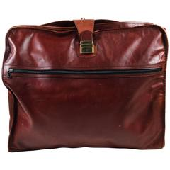 Vintage Bottega Veneta Reddish Brown Textured Leather GHW Folding Garment Bag