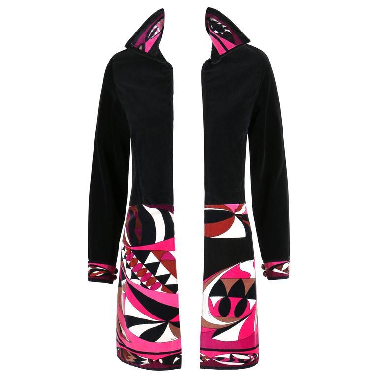 EMILIO PUCCI c.1960s-1970s Contrasting Signature Print Velvet Jacket Coat Blazer