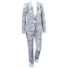 EMILIO PUCCI Two Piece Pale Blue Lace Print Fitted Blazer Pants Suit Set Size 6