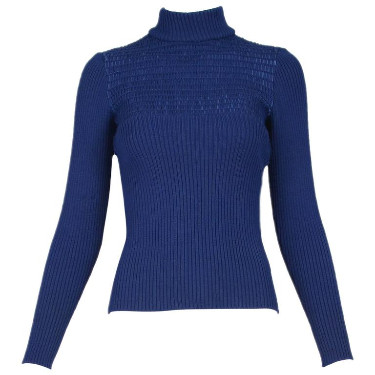 1970's Gucci Blue Wool Ribbed Mock Turtle Neck Sweater W/Suede Woven Into Fabric For Sale