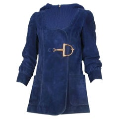 1970's Gucci Blue Suede & Knitted Wool Hooded Jacket W/Oversized Horsebit Clasp