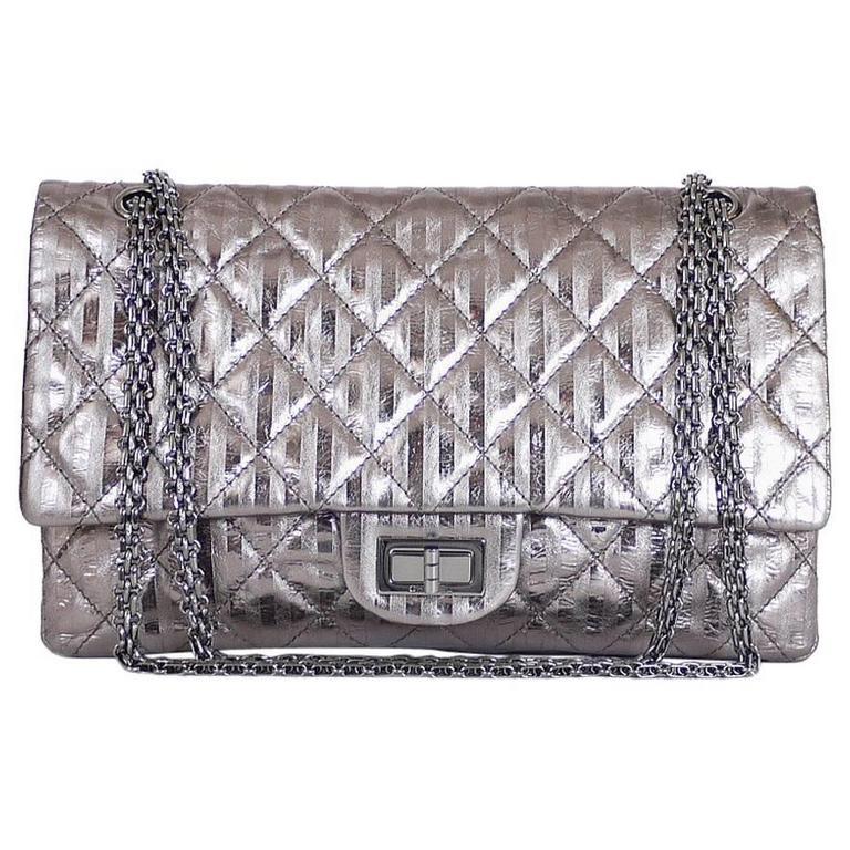 e535caeb4c08 Chanel Metallic 2.55 Double Flap Jumbo Classic Shoulder Bag XL For Sale