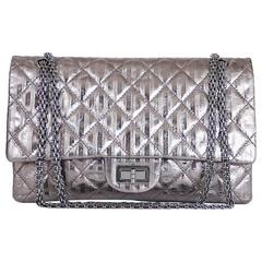 a5508e0b4e5ed4 Chanel Metallic 2.55 Double Flap Jumbo Classic Shoulder Bag XL