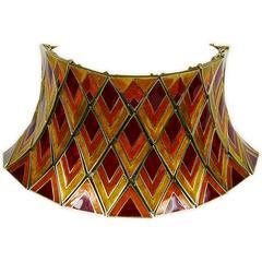 Christian Dior Vintage Harlequin Enameled Choker Necklace