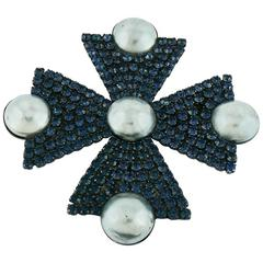 Yves Saint Laurent YSL Goossens Massive Bejeweled Maltese Cross Brooch Pendant