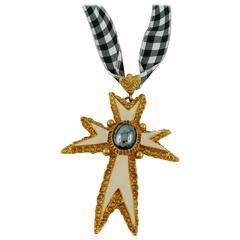 Christian Lacroix Vintage 1994 Enamel Cross Pendant Necklace