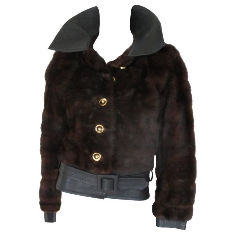 45c8afc8fb4 Yves Saint Laurent Vintage Brown Mink Belted Fur Jacket For Sale at ...