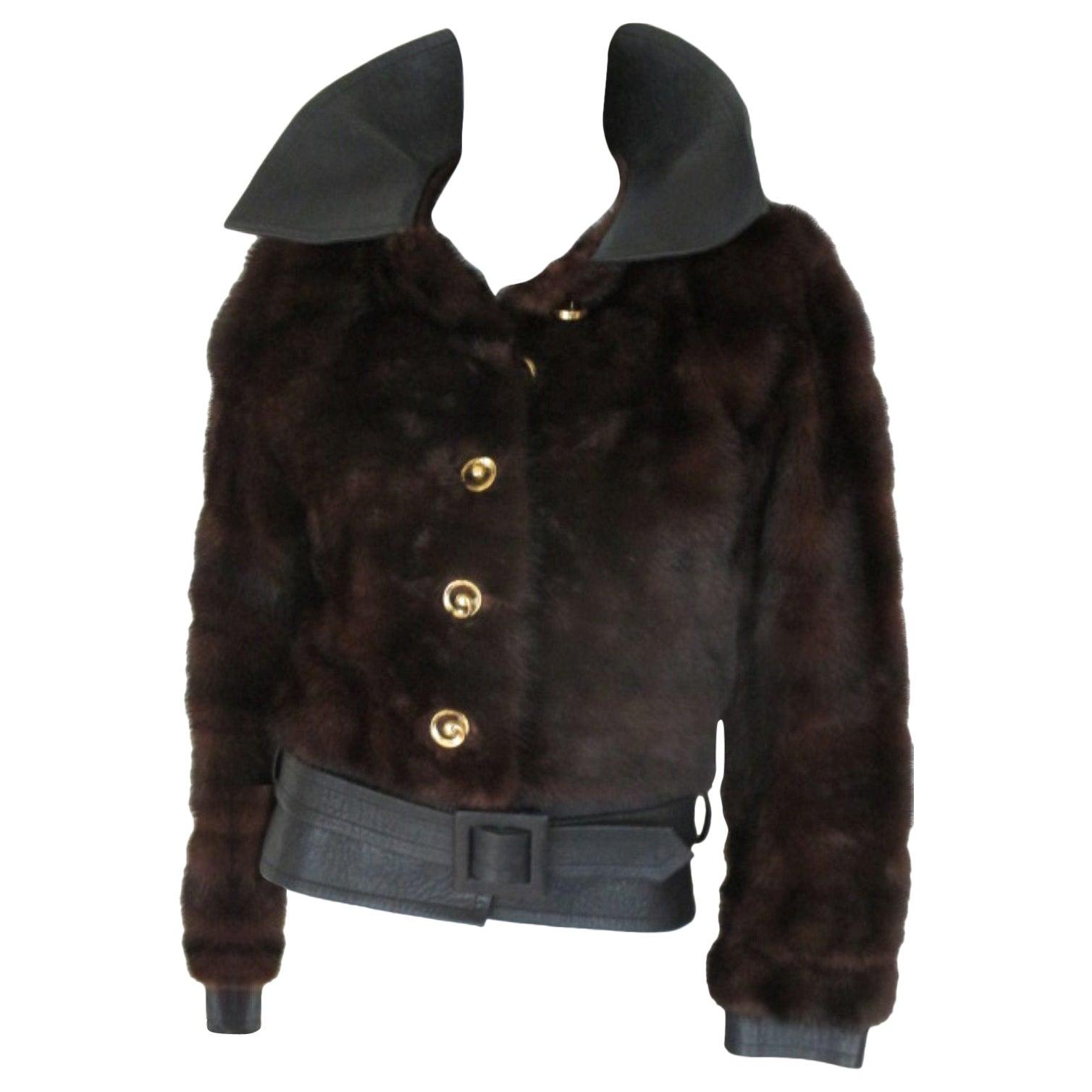 c18b83ecb2 Yves Saint Laurent Vintage Brown Mink Belted Fur Jacket