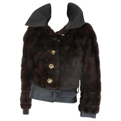 Yves Saint Laurent Vintage Brown Mink Belted Fur Jacket