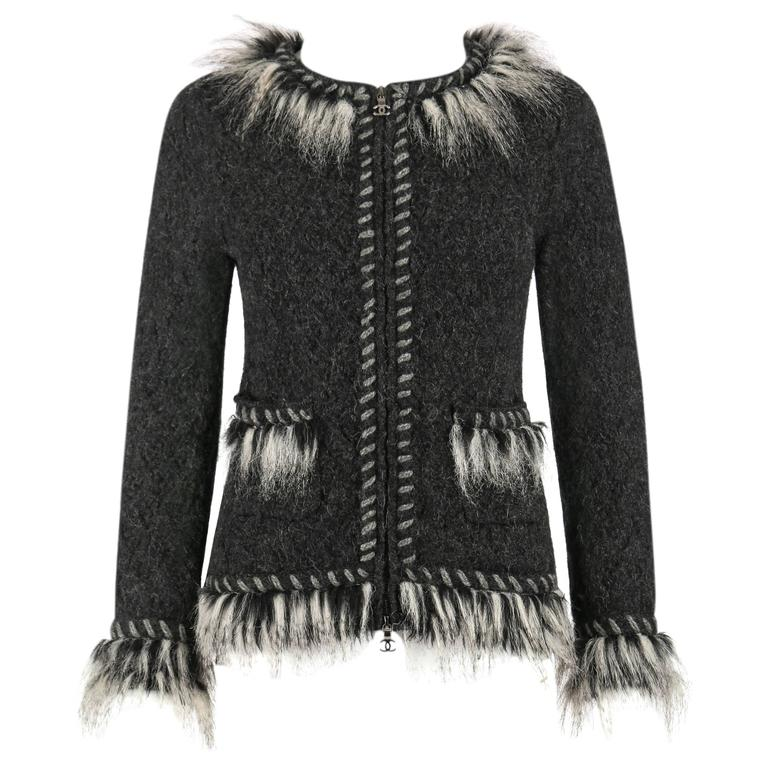 CHANEL Gray Alpaca Cashmere Knit Fringe Fur Zip Front Cardigan Sweater Jacket For Sale