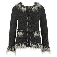 CHANEL Gray Alpaca Cashmere Knit Fringe Fur Zip Front Cardigan Sweater Jacket