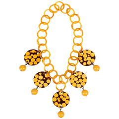 CHARLES ELKAIM c.1950's Bakelite Polka Dot Injection Butterscotch Link Necklace