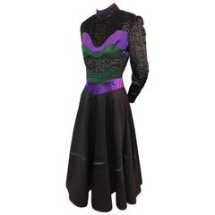 1990's Geoffrey Beene Sculpted Bodice Cocktail Dress W/ Full Skirt
