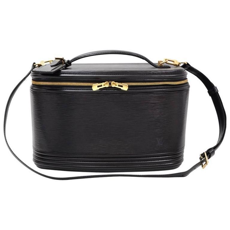 Vintage Louis Vuitton Nice Beauty Black Epi Leather Travel Case + Strap 1