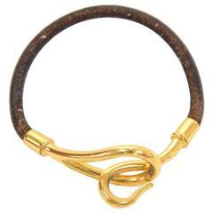 Hermes Brown Leather x Gold Tone Hook Jumbo Bracelet