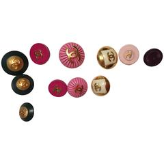 11 Vintage Chanel Buttons - Assorted Colors and Sizes