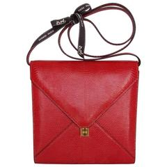 Rare Hermes Marigny Bag Clutch Envelope 3 ways Red Lizard Gold Hdw + Mirror