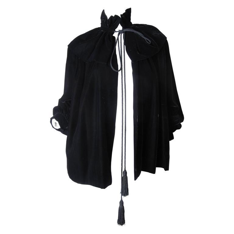 Yves Saint Laurent Velvet Cape Jacket with Tassels, 1970s