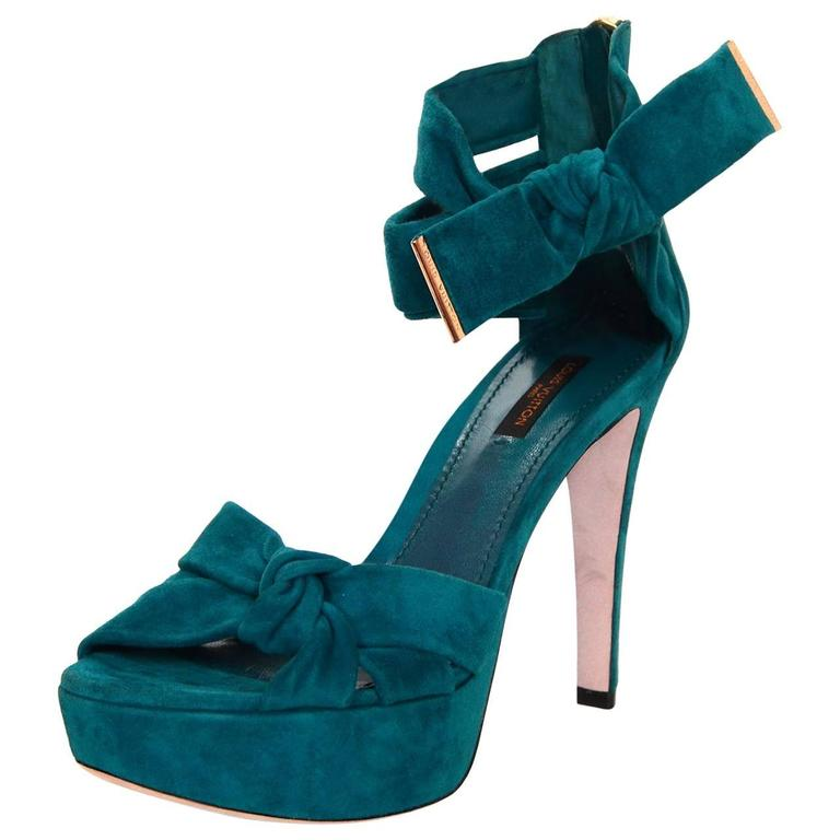 b5bde0198a17 Louis Vuitton Teal Suede Platform Sandals Sz 38 For Sale at 1stdibs