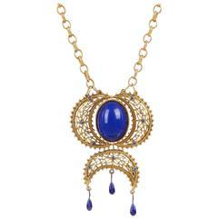 NAPIER c.1980's Large Blue Cabochon Stone Gold Egyptian Revival Pendant Necklace