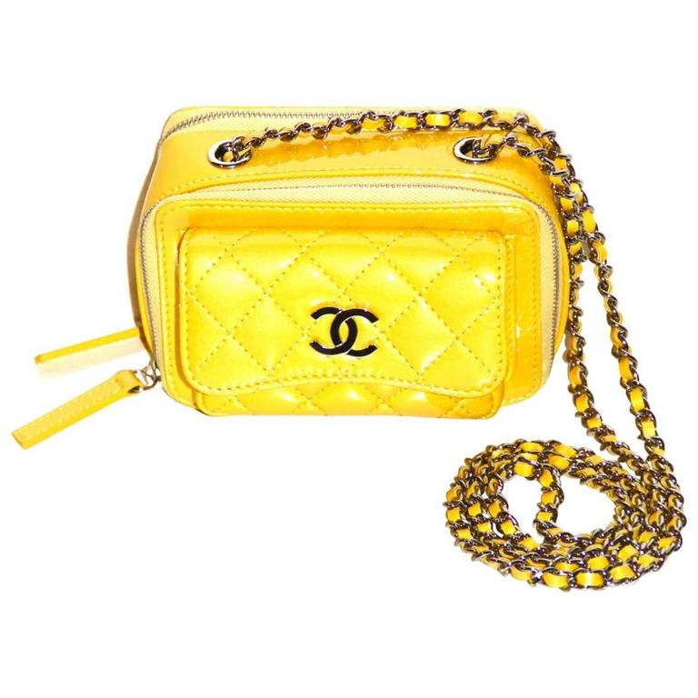 Chanel Mini Pocket Box Bag - Yellow Quilted Patent Leather - Pristine Condition 1