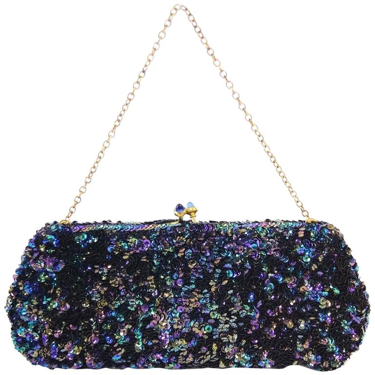 Josef of Hollywood Peacock Iridescent Sequin Clutch, 1940s