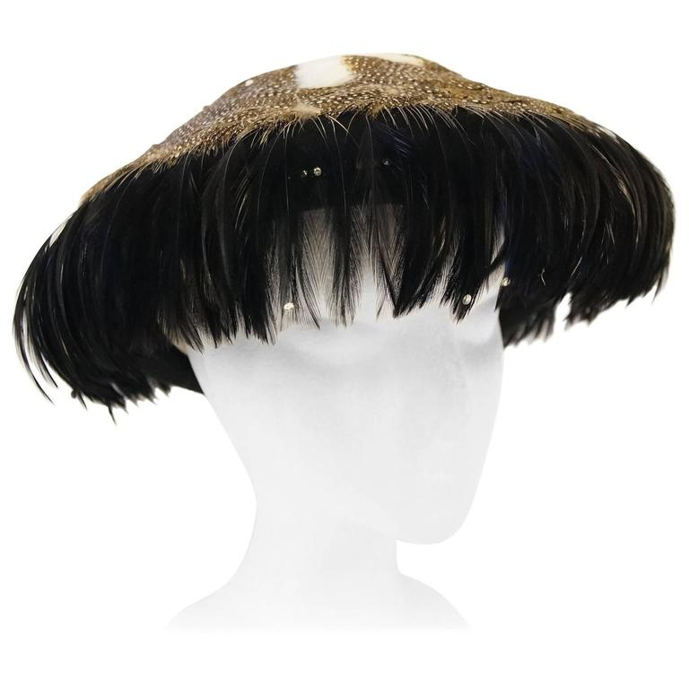 1950s Jack McConnell Guinea Fowl Feather and Rhinestone Hat