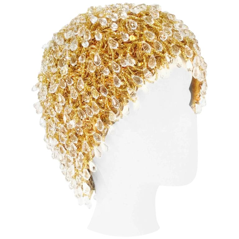 Madcaps for Sakowitz Beaded Gold Beanie Toque Hat Cap, 1960s