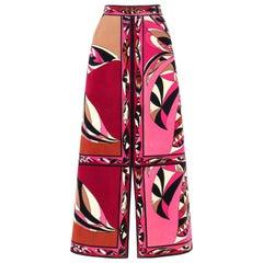 EMILIO PUCCI c.1970's Pink Multicolor Floral Signature Print Velvet Maxi Skirt