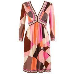 EMILIO PUCCI c.1960's Multicolor Abstract Signature Print Jersey V-Neck Dress