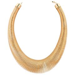 VERSACE c.1980's Ugo Correani Large Gold Coil Spring Statement Necklace