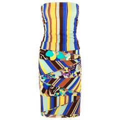 GIANNI VERSACE COUTURE c.1990's Striped Floral Strapless Top Skirt Dress Set