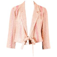 Chanel 99P Pink Green Boucle Tweed Metallic Stripe Tie Belt Blazer Jacket SZ 36