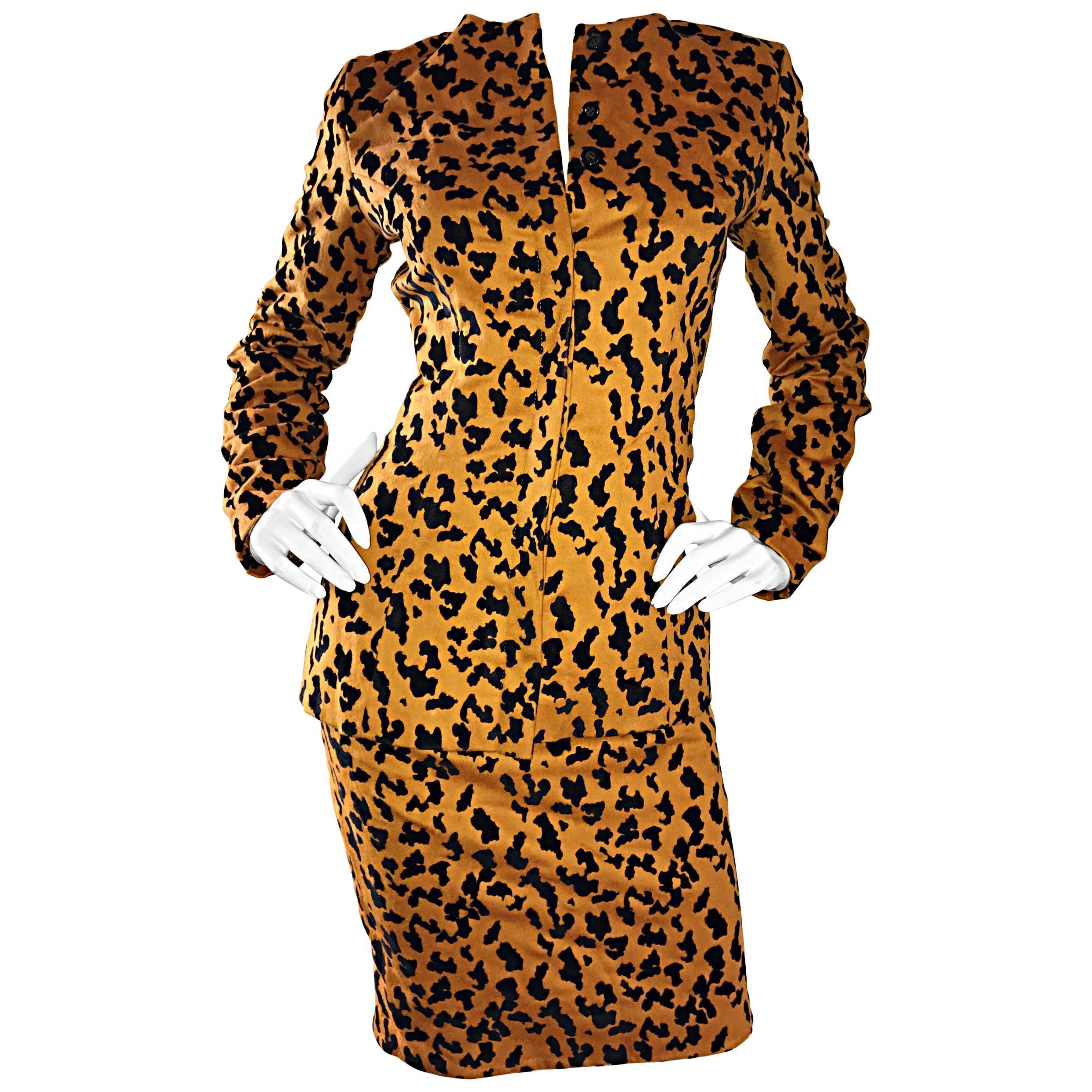 Vintage Vicky Tiel Couture Leopard Cheetah Print Wool Velvet 1980s Skirt Suit