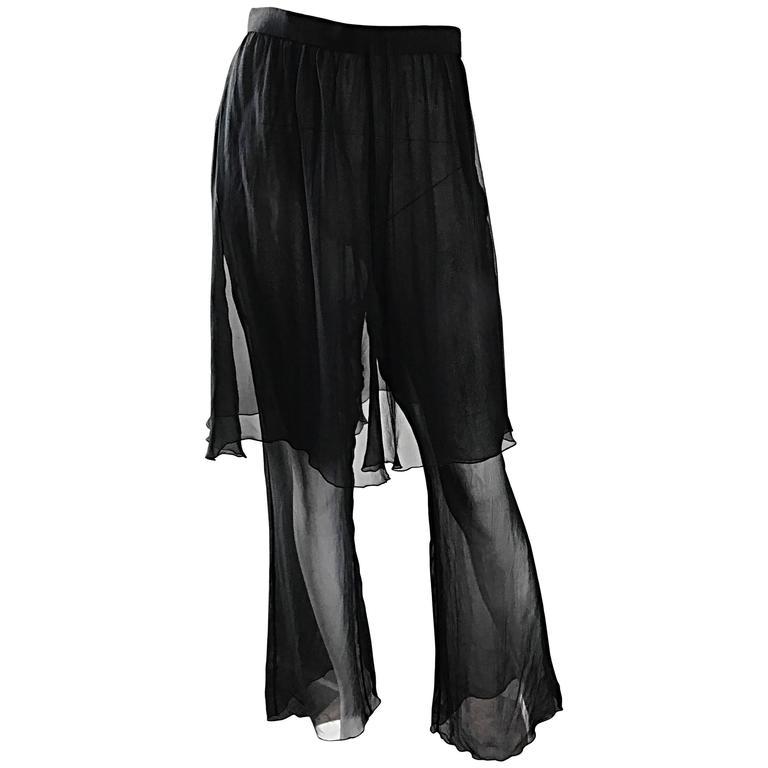 Sensational Vintage Karl Lagerfeld Black Silk Chiffon 90s Wide Leg Pants Skirt
