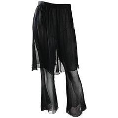 Karl Lagerfeld Vintage Sensational Black Silk Chiffon 90s Wide Leg Pants Skirt