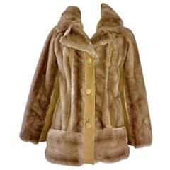 Chic 1960s Lilli Ann Light Brown Faux Fur And Suede Leather Vintage Swing Coat