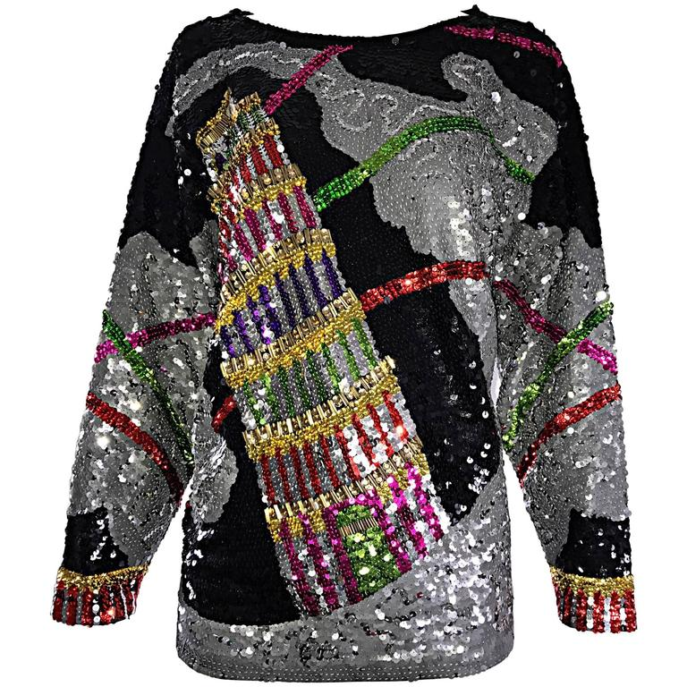 Amazing Vintage ' Leaning Tower of Pisa ' Fully Sequined Long Sleeve Top Blouse For Sale